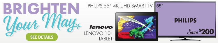 Philips 55 inch 4K UHD Smart TV and Lenovo 10 inch Tablet - See Details