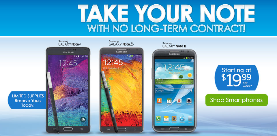 Take Your Note with No Long-Term Contract! Shop Smartphones