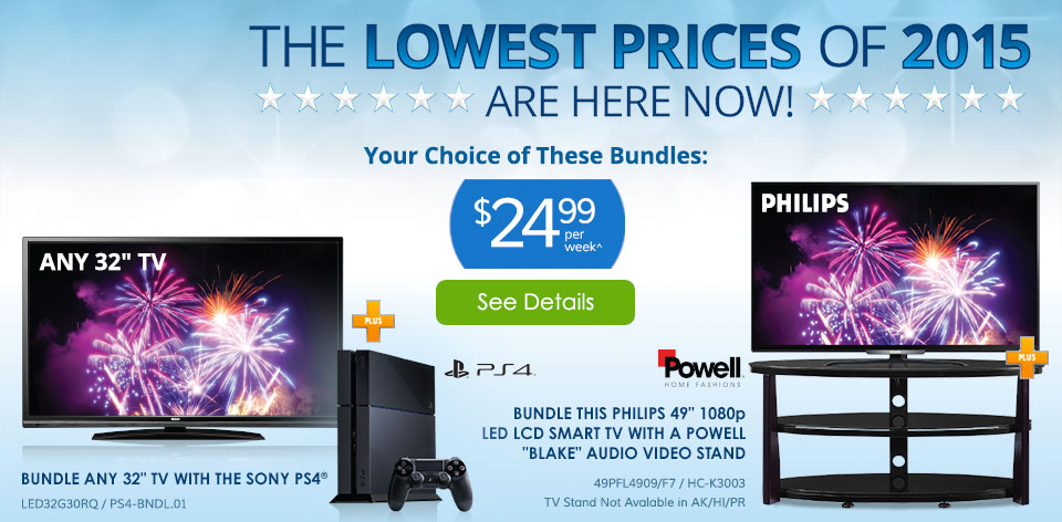 The Lowest Prices of 2015 Are Here Now! Your Choice of these Bundles $24.99 Per Week^ See Details >
