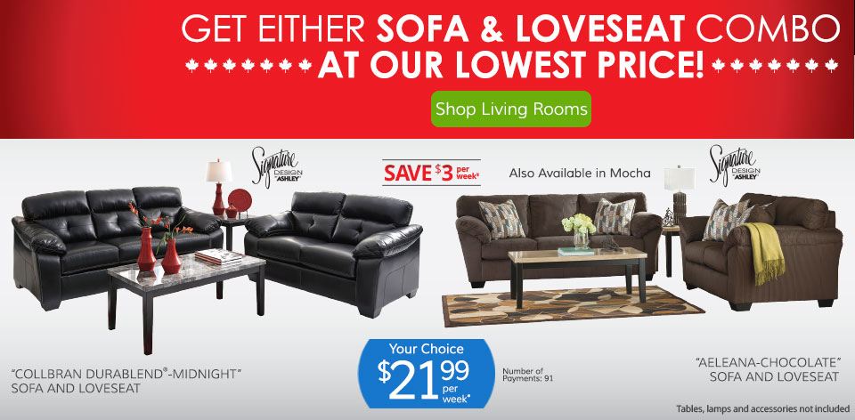 Get Either Sofa & Loveseat Combo at Our Lowest Price! Shop Living Rooms >